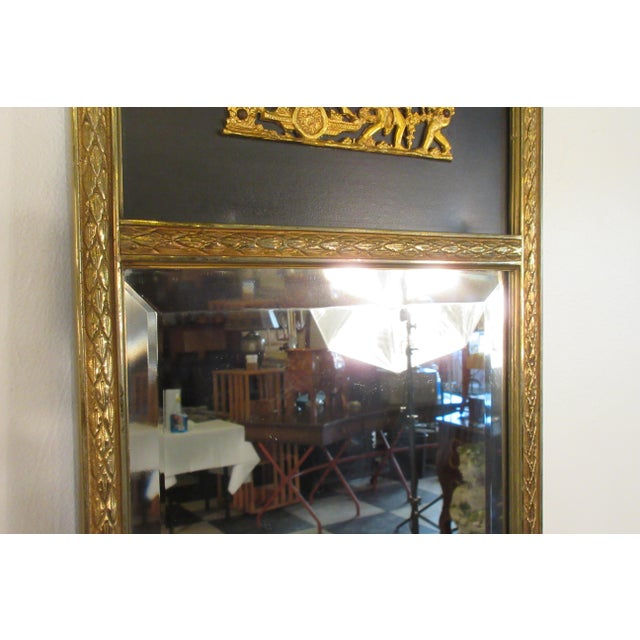 Black 1950s French Brass Classical Small Trumeau Mirror For Sale - Image 8 of 11