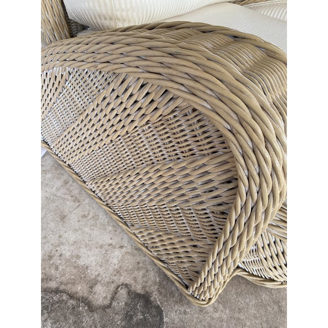 Cream Coastal Wicker Braid Lounge Chair For Sale - Image 8 of 13