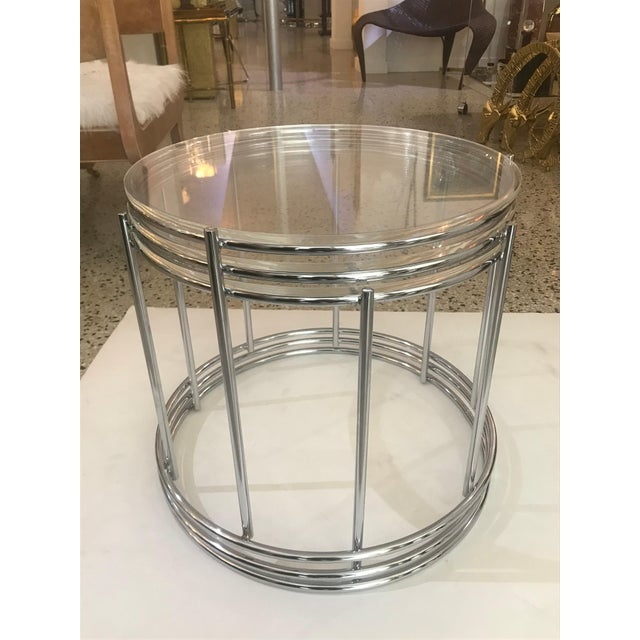 Mid-Century Modern Round Polished Chrome Nesting Tables - Set of 3 For Sale - Image 3 of 13