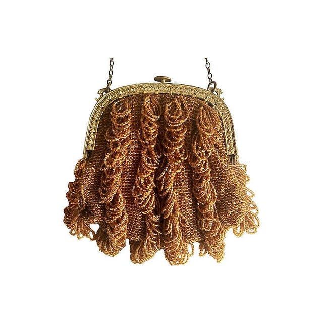 Traditional 1920s Vintage Topaz Glass Beaded Purse For Sale - Image 3 of 4