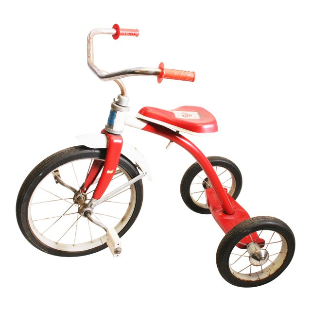 Vintage Red Metal Child's Tricycle For Sale