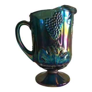 1970's Indiana Glass Blue Grape Harvest Pitcher For Sale