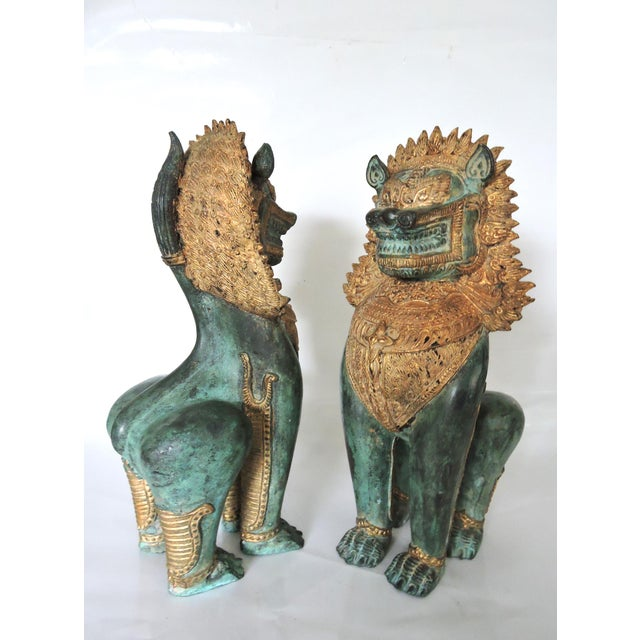 Thai Singha Temple Guardians/Dragons - a Pair For Sale - Image 4 of 9