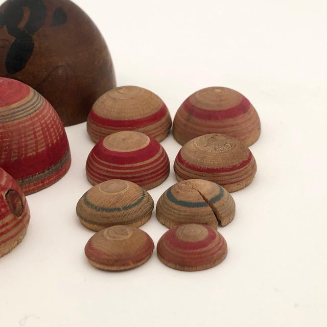 Vintage Mid-Century Japanese Hand-Painted Wooden Nesting Eggs - Set of 7 For Sale - Image 12 of 13