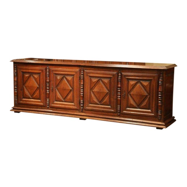 Early 19th Century French Louis XIII Carved Walnut Four-Door Enfilade Buffet For Sale