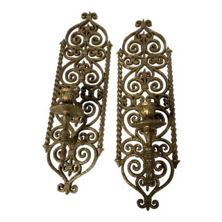 1970s Burwood Hollywood Regency Gold Sconces- a Pair For Sale