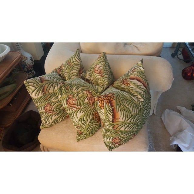 Boho Chic 1970s Boho Chic Tropical Jungle Print Brushed Canvas Pillow Covers - Set of 3 For Sale - Image 3 of 12