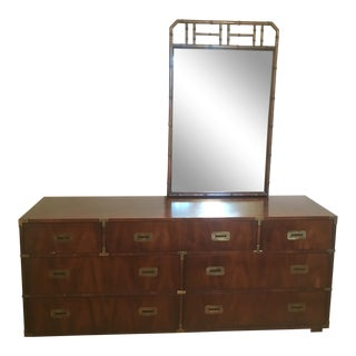 Henredon Vintage Campaign Dresser With Bamboo Mirror