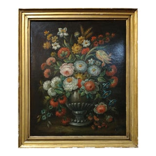 18th Century Continental School Floral Still Life Oil Painting