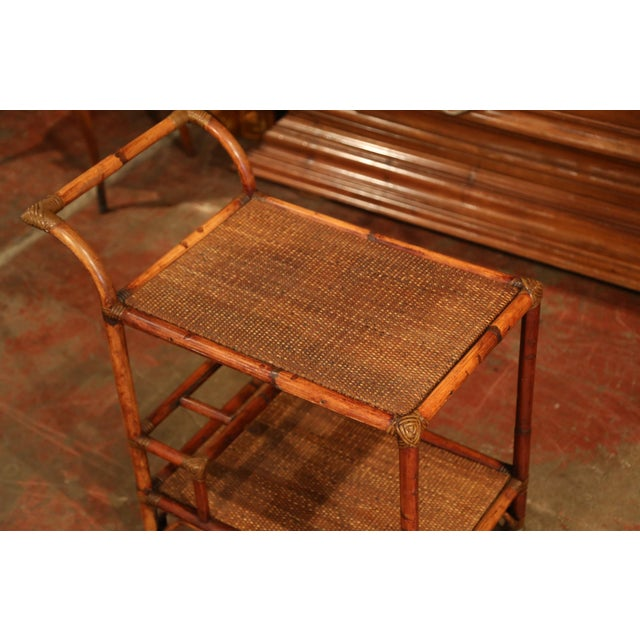 Bamboo Early 20th Century French Patinated Bamboo Two-Tier Bar Cart For Sale - Image 7 of 9