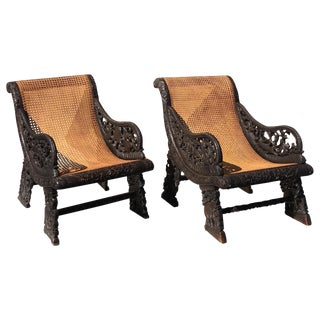 Burmese Asian Caned Armchairs - A Pair For Sale