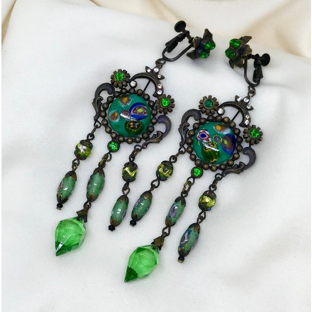 Czech Glass Long Dangling Green Chandelier Earrings With Screw-Clip Back For Sale - Image 4 of 8