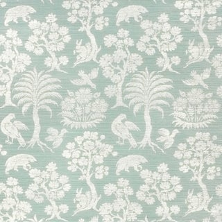 Sample - Schumacher Woodland Silhouette Sisal Wallpaper in Sky For Sale