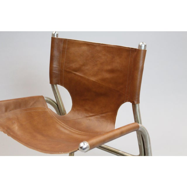 Mid-Century Italian Leather & Aluminum Chairs - A Pair - Image 6 of 6