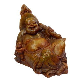 19th Century Chinese Intricately Carved Soapstone Buddha Figurine For Sale