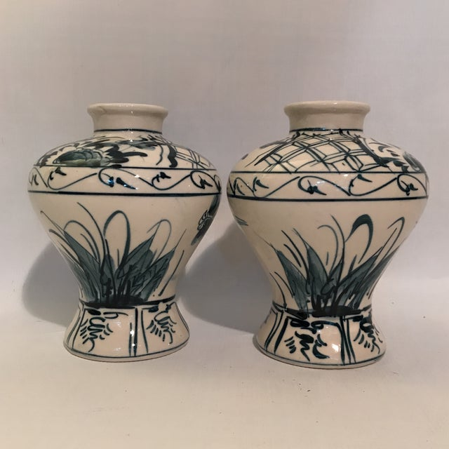 Early 20th Century Hand Painted Blue and White Porcelain Vases - a Pair For Sale - Image 5 of 12