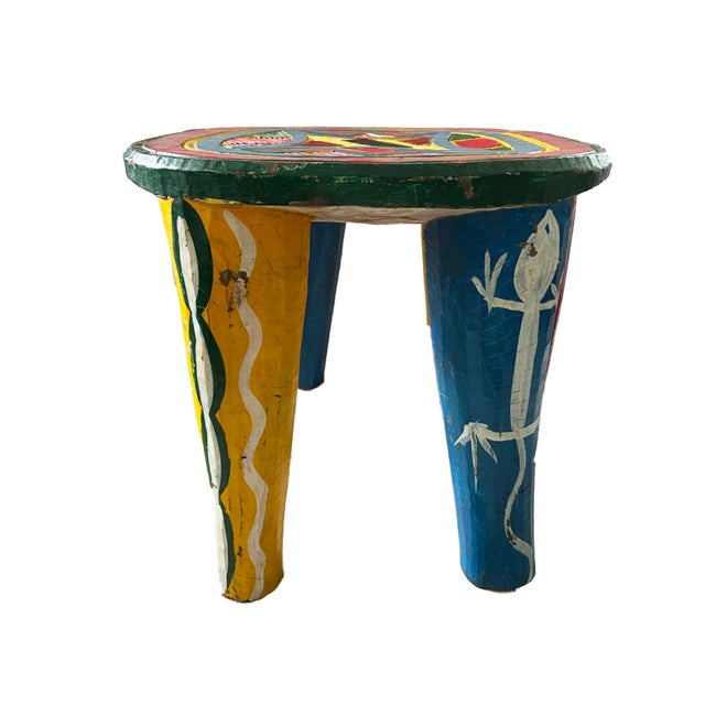 """African Old Nupe Stool Nigeria 12"""" H For Sale - Image 4 of 8"""