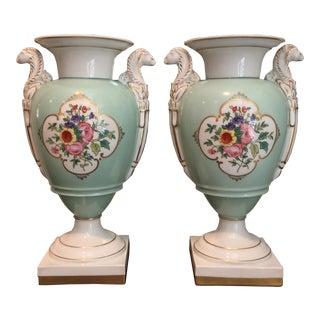 """13""""h Portuguese Vista Alegre Hand Painted Vases - a Pair For Sale"""