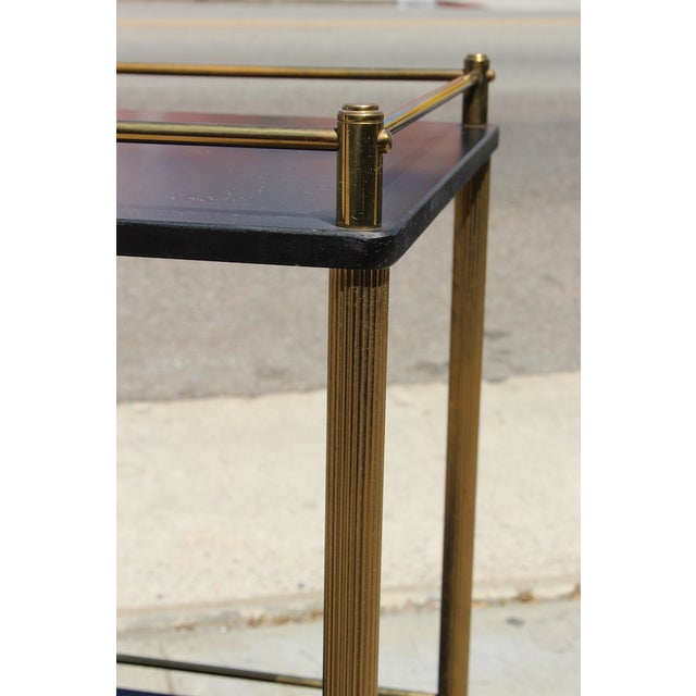 Brass Maxwell Phillip Brass Bar Cart With Black Shelves For Sale - Image 7 of 9