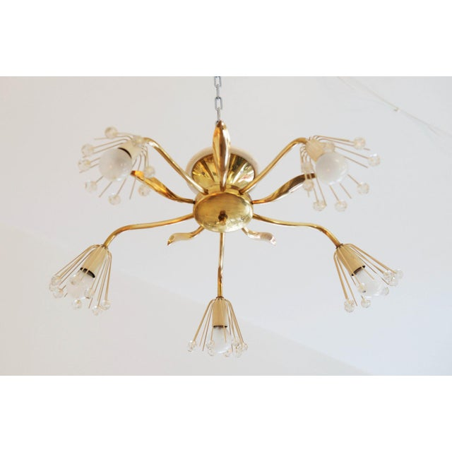 Mid-Century Brass Chandelier by Emil Stejnar for Rupert Nikoll For Sale - Image 6 of 7