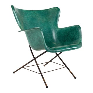 Lawrence Peabody for Selig Mid Century Wingback Fiberglass Shell Chair - Green For Sale