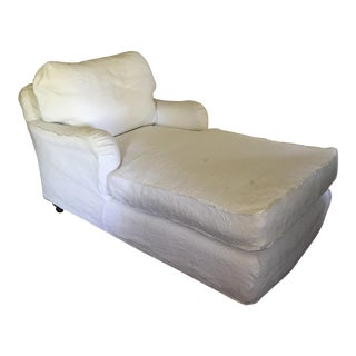White Slipcovered Chaise Lounge
