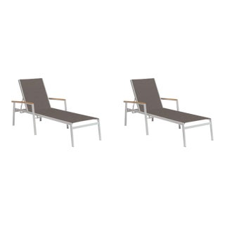 Outdoor Sling Chaise Lounge, Natural and Cocoa (Set of 2) For Sale