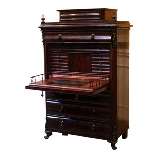 19th Century Empire Flame Mahogany Secretary Desk For Sale