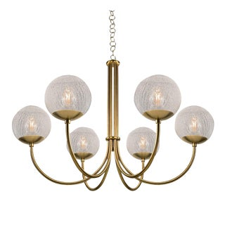 Oxford Brushed Brass 6 Arm Cracked Glass Globes Pendant Light For Sale