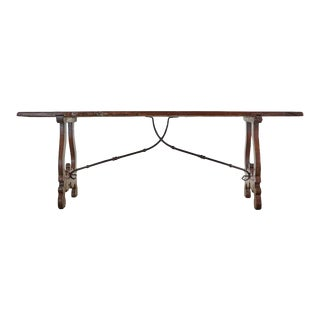 19th Century Spanish Baroque Walnut Trestle Dining Table For Sale