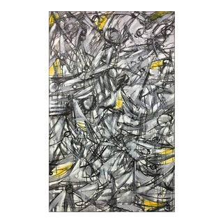 "Contemporary Abstract Yellow & Black Oil Painting ""Tonadas II"" by Maximo Caminero For Sale"