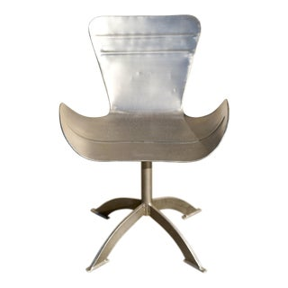 Vintage Mid Century Arne Jacobsen Style Metal Steel Wing Tub Chair For Sale