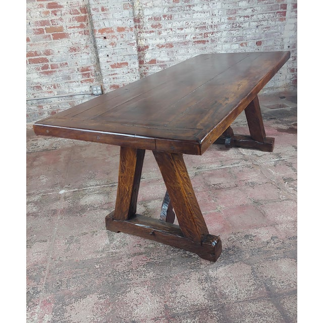 1960s 1960s Spanish Colonial Gorgeous Walnut Dining Table For Sale - Image 5 of 10