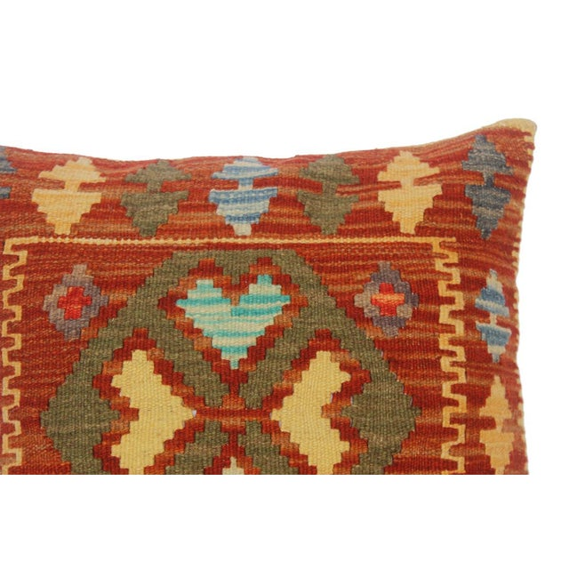 "Asian Chi Rust/Gold Hand-Woven Kilim Throw Pillow(18""x18"") For Sale - Image 3 of 6"