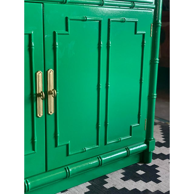 Wood 1960's Vintage Green Lacquered China Cabinet For Sale - Image 7 of 11