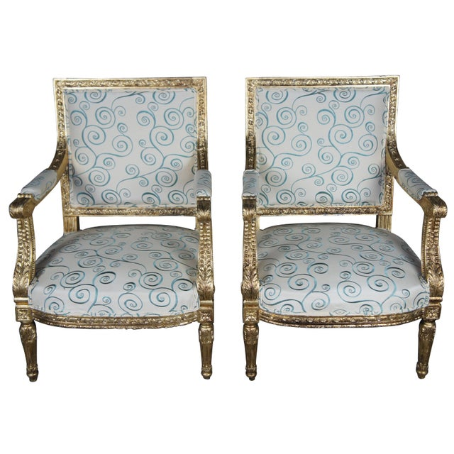 Antique 19th Century Louis XVI Fauteuil Neoclassical French Accent Arm Chairs - a Pair For Sale - Image 13 of 13