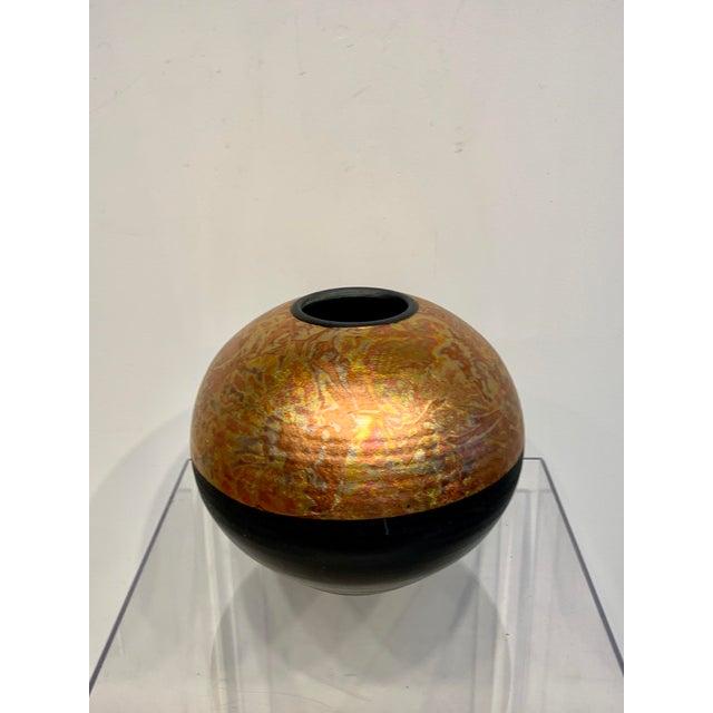 Metal 1980s Southwestern Ceramic Raku Vase by Michael Weinberg For Sale - Image 7 of 11