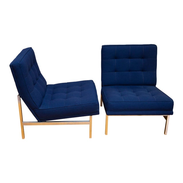 Pair of Florence Knoll Parallel Bar Slipper Chairs For Sale