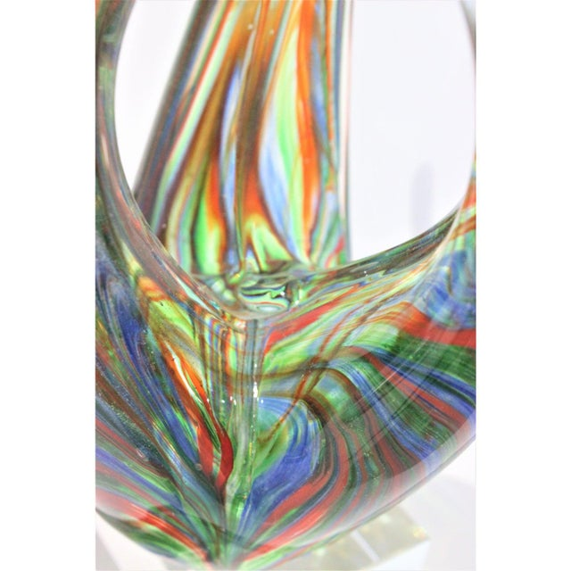 "Murano Vintage Lucite Base ""Flame"" Sculpture Multicolored Glass Murano Style For Sale - Image 4 of 12"