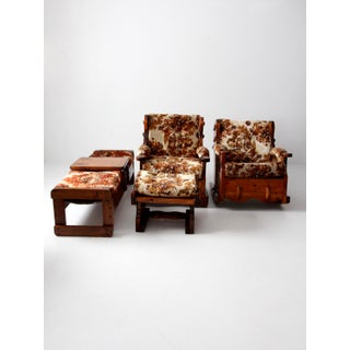 Vintage Floral Lodge Chairs and Ottoman - Set of 4 Preview