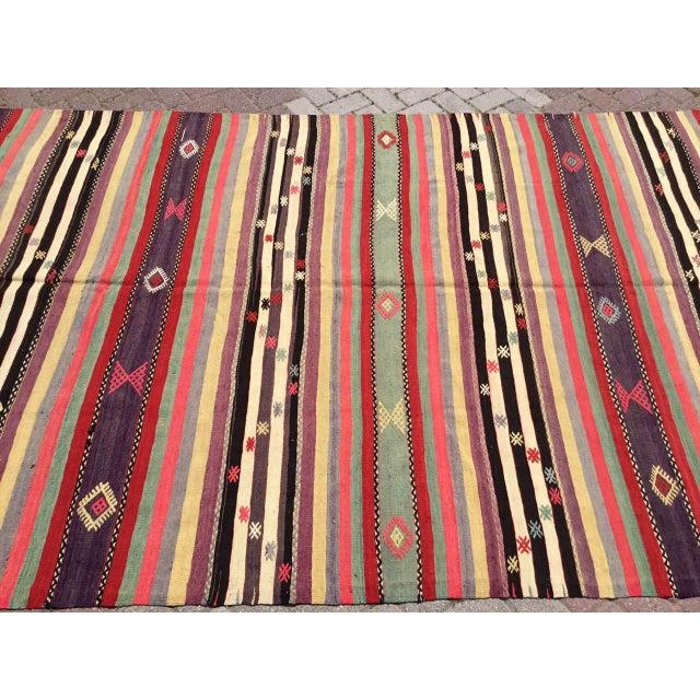 Boho Chic Vintage Striped Turkish Kilim Rug For Sale - Image 3 of 11