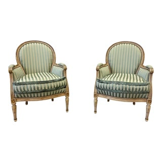 Pair of Louis XVI Style Upholstered Arm Chairs - Early 20th C For Sale