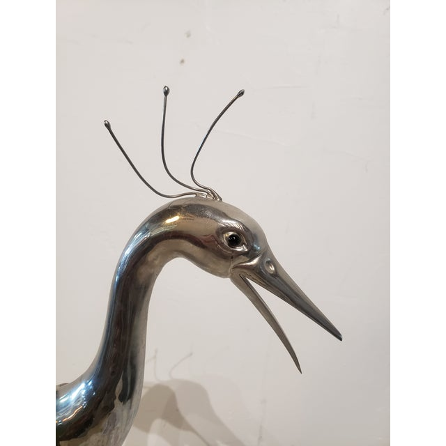1960s Horn and Metal Signed Bird Sculpture For Sale - Image 4 of 7
