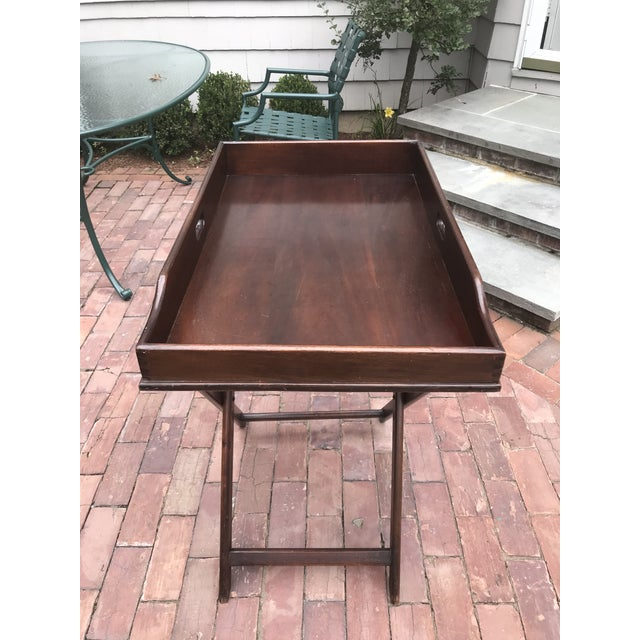Campaign Style Mahogany Butlers Tray on Stand—Can Be Shipped in Box by Ups For Sale - Image 4 of 12