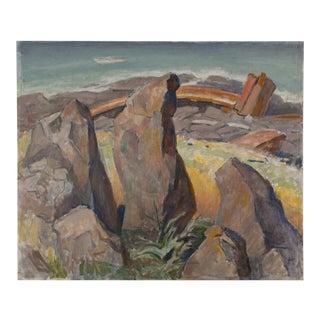 Brutalist Midcentury Painting Rocky Desert Landscape Seascape by Edmund Franklin Ward For Sale