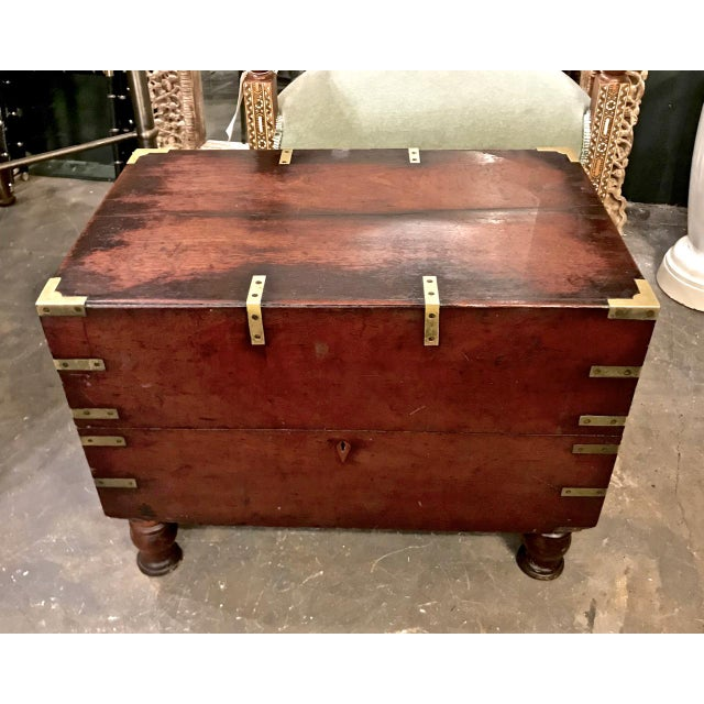 Brass Early 19th Century English Mahogany Footed Campaign Chest or Trunk For Sale - Image 7 of 7
