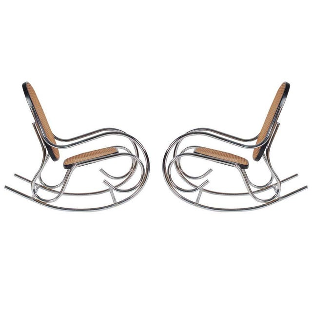 1970s 1970s Mid-Century Scrolled Chrome and Cane Rocking Chairs - a Pair For Sale - Image 5 of 10