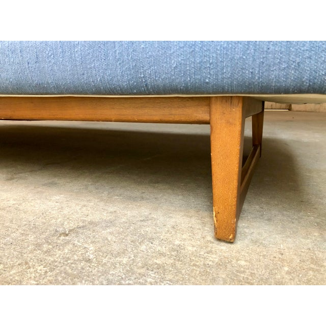 Mid-Century Danish Modern Selig Style Blue Long Sofa For Sale - Image 9 of 10