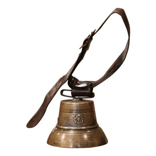 19th Century French Bronze Cow Bell With Original Leather Strap and Buckle For Sale