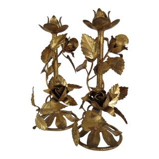 1960s Italian Gold Leaf Tole Candleholders - a Pair For Sale